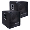 "Sound Town METIS-15SDPW-PAIR Pair of 15"" 3600 Watts Powered PA DJ Subwoofers with Class-D Amplifier, 4-inch Voice Coil"
