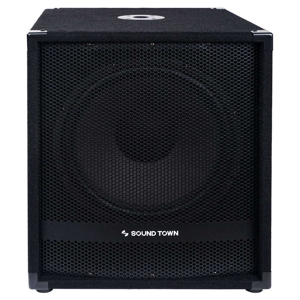 "Sound Town METIS-15SDPW METIS Series 1800 Watts 15"" Powered PA DJ Subwoofer with Class-D Amplifier, 4-inch Voice Coil - Front Panel"