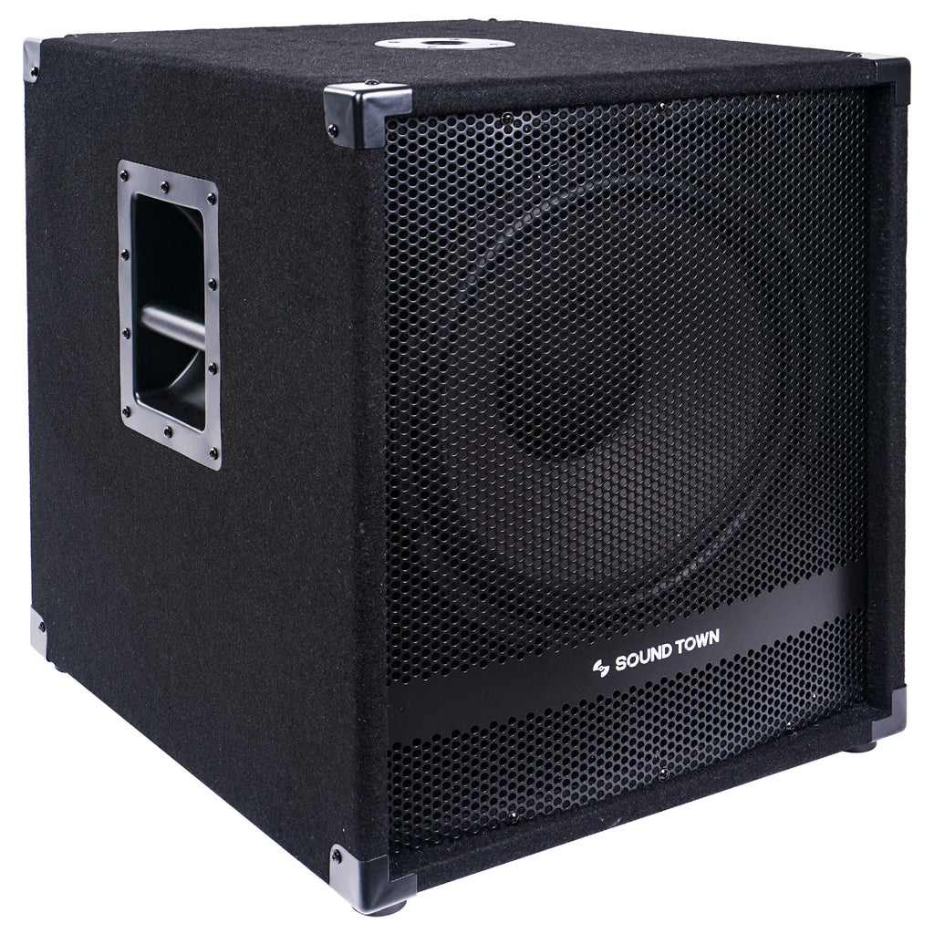 "Sound Town METIS-15SDPW-PAIR Pair of 15"" 3600 Watts Powered PA DJ Subwoofers with Class-D Amplifier, 4-inch Voice Coil - Right Panel"