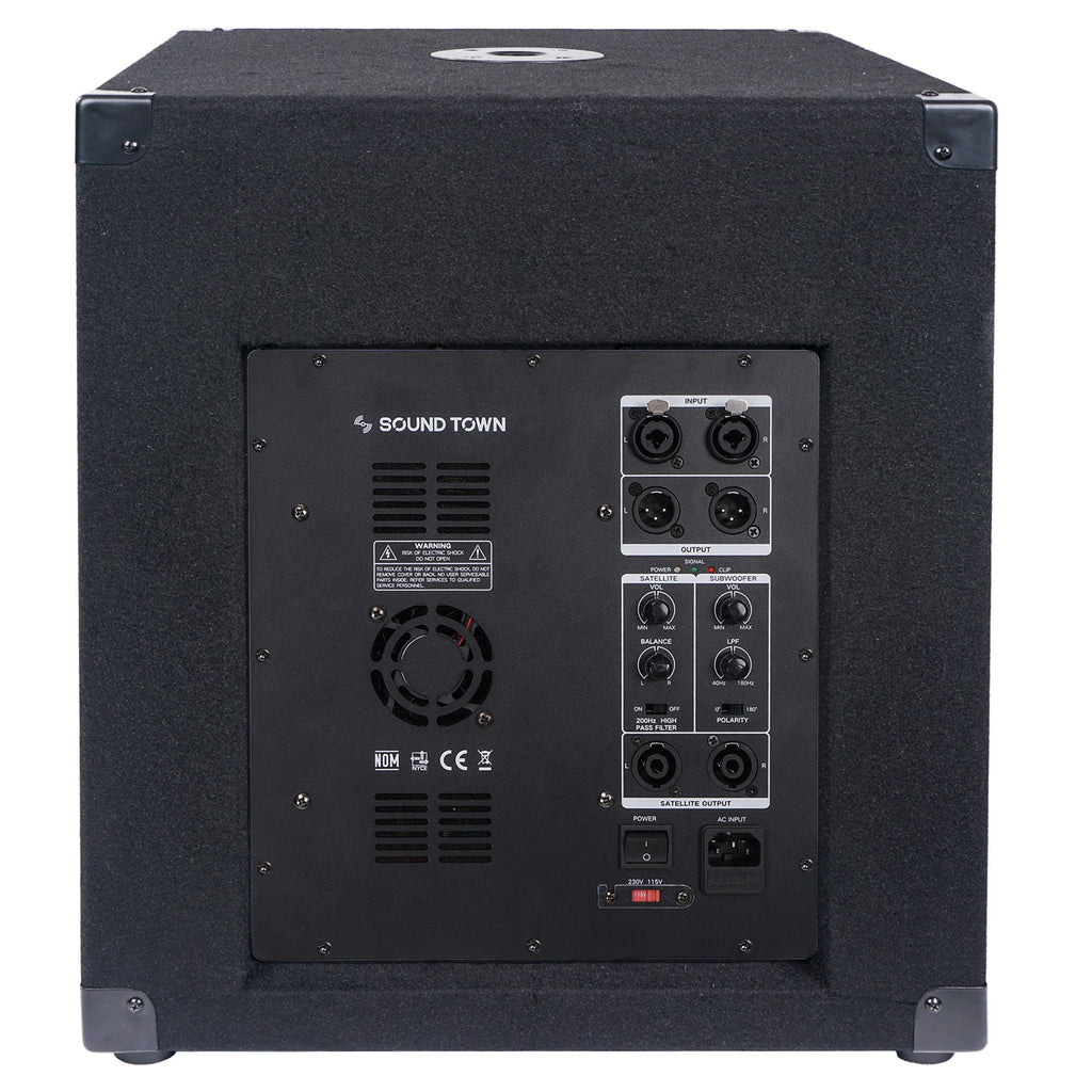 "Sound Town METIS-15SPW2.1-PAIR METIS Series 15"" 1600W Powered Subwoofers with Speaker Outputs, DJ PA Pro Audio Sub with 4-inch Voice Coil - Back Panel Input, Outputs and Connectors"