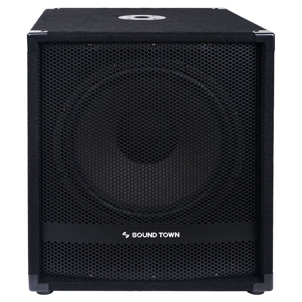 "Sound Town METIS-15SPW2.1-PAIR METIS Series 15"" 1600W Powered Subwoofers with Speaker Outputs, DJ PA Pro Audio Sub with 4-inch Voice Coil - Front Panel with Anti-Corrosion Mesh Grille"