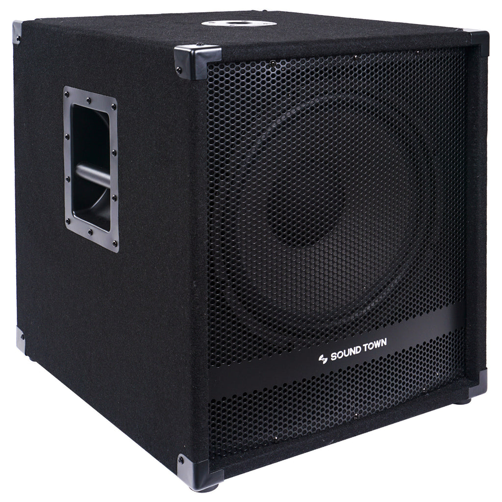 "Sound Town METIS-15SPW2.1-PAIR METIS Series 15"" 1600W Powered Subwoofers with Speaker Outputs, DJ PA Pro Audio Sub with 4-inch Voice Coil - Right Side Panel with Recessed Handles"
