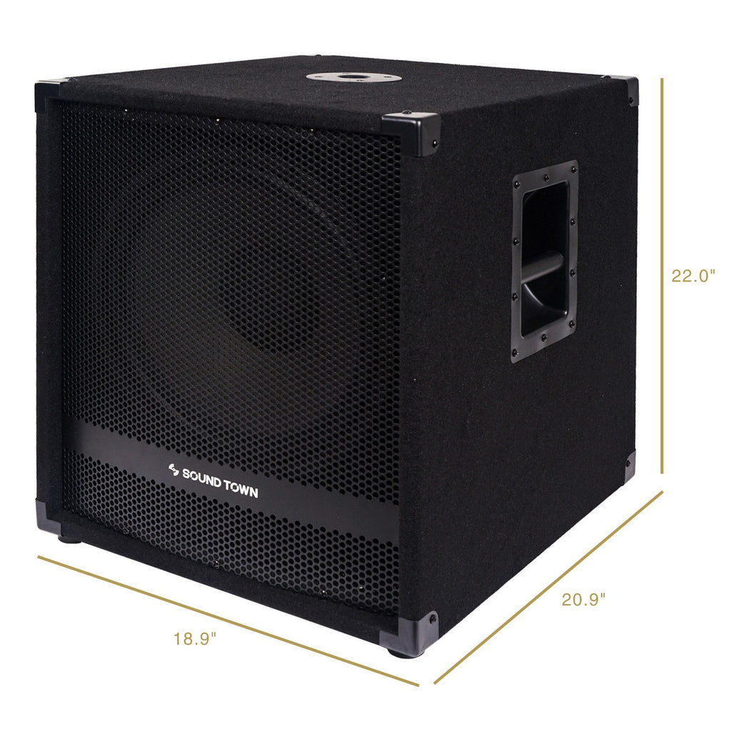 "Sound Town METIS-15SPW2.1-PAIR METIS Series 15"" 1600W Powered Subwoofers with Speaker Outputs, DJ PA Pro Audio Sub with 4-inch Voice Coil - Dimensions and Size Info"