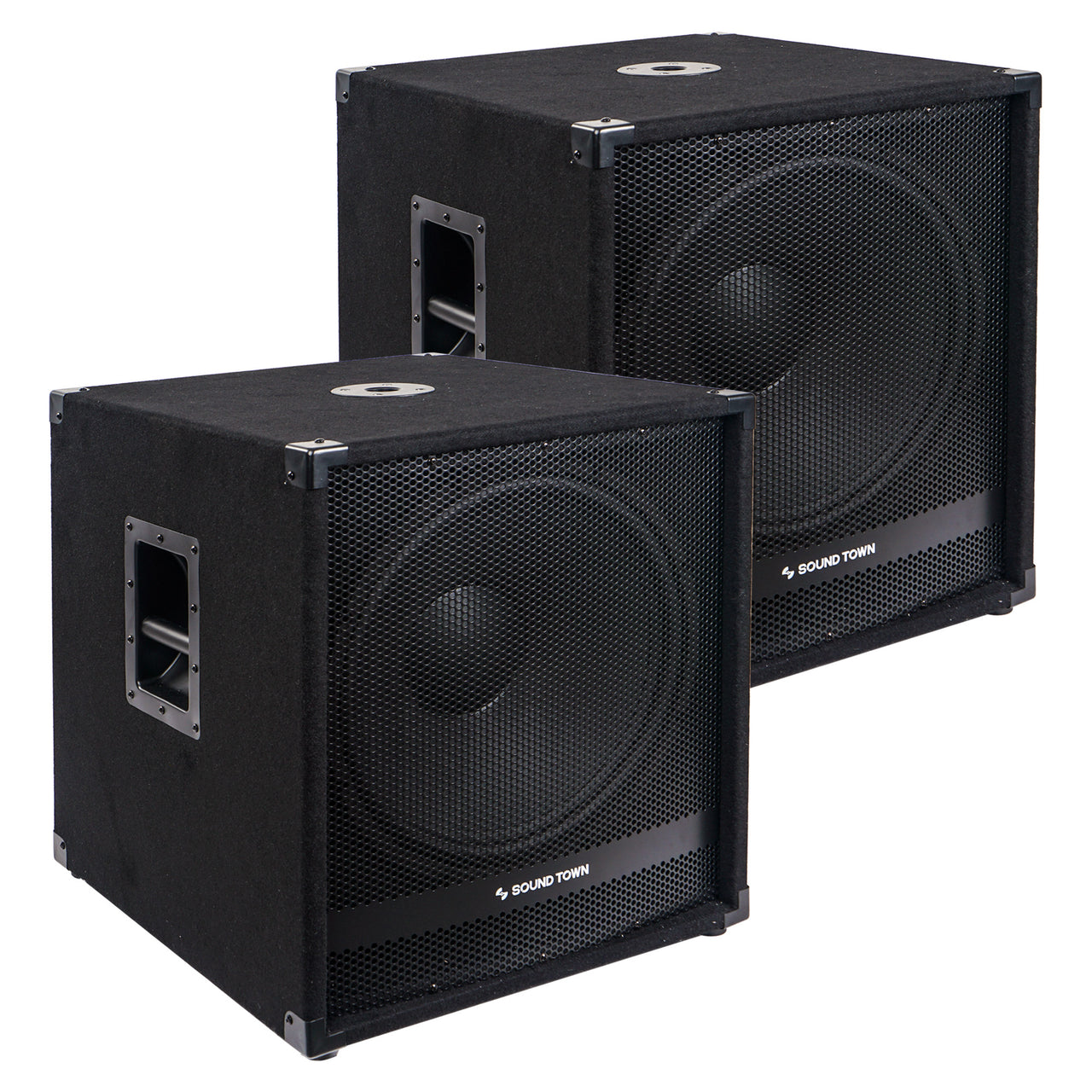 "Sound Town METIS-18SDPW-PAIR Pair of 18"" 4800 Watts Powered Subwoofers with Class-D Amplifier, 4-inch Voice Coil"