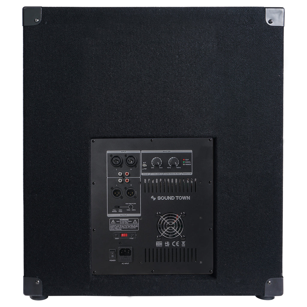 Sound Town METIS-18SDPW METIS Series 2400 Watts 18 Powered PA DJ Subwoofer with Class-D Amplifier, 4-inch Voice Coil - Back Panel