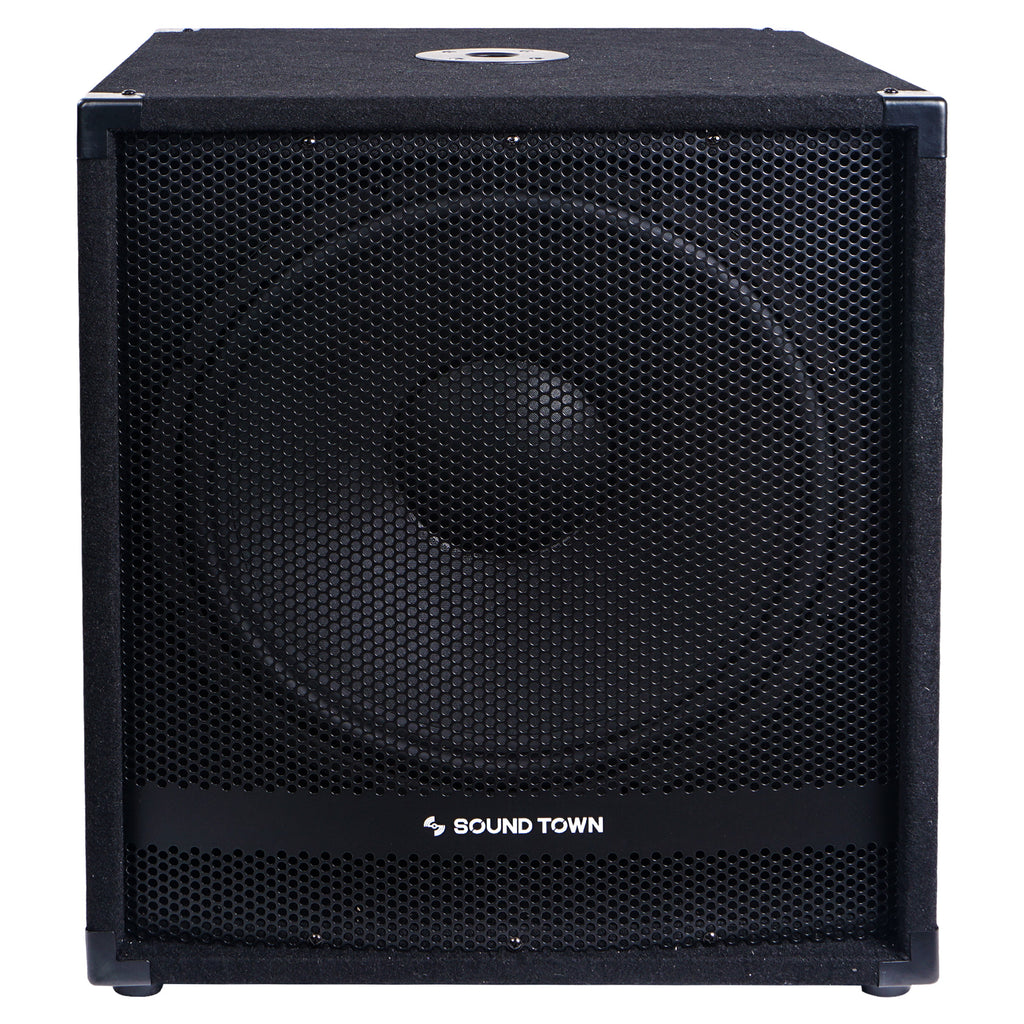 "Sound Town METIS-18SDPW-PAIR Pair of 18"" 4800 Watts Powered Subwoofers with Class-D Amplifier, 4-inch Voice Coil - Front Panel with Grill Rigging"