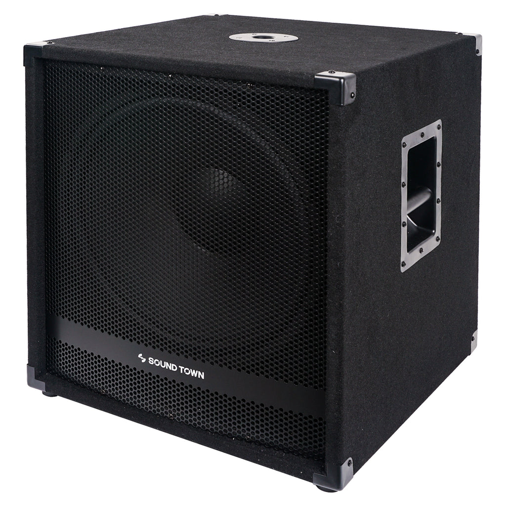 "Sound Town METIS-18SDPW-PAIR Pair of 18"" 4800 Watts Powered Subwoofers with Class-D Amplifier, 4-inch Voice Coil - Left Side Panel"