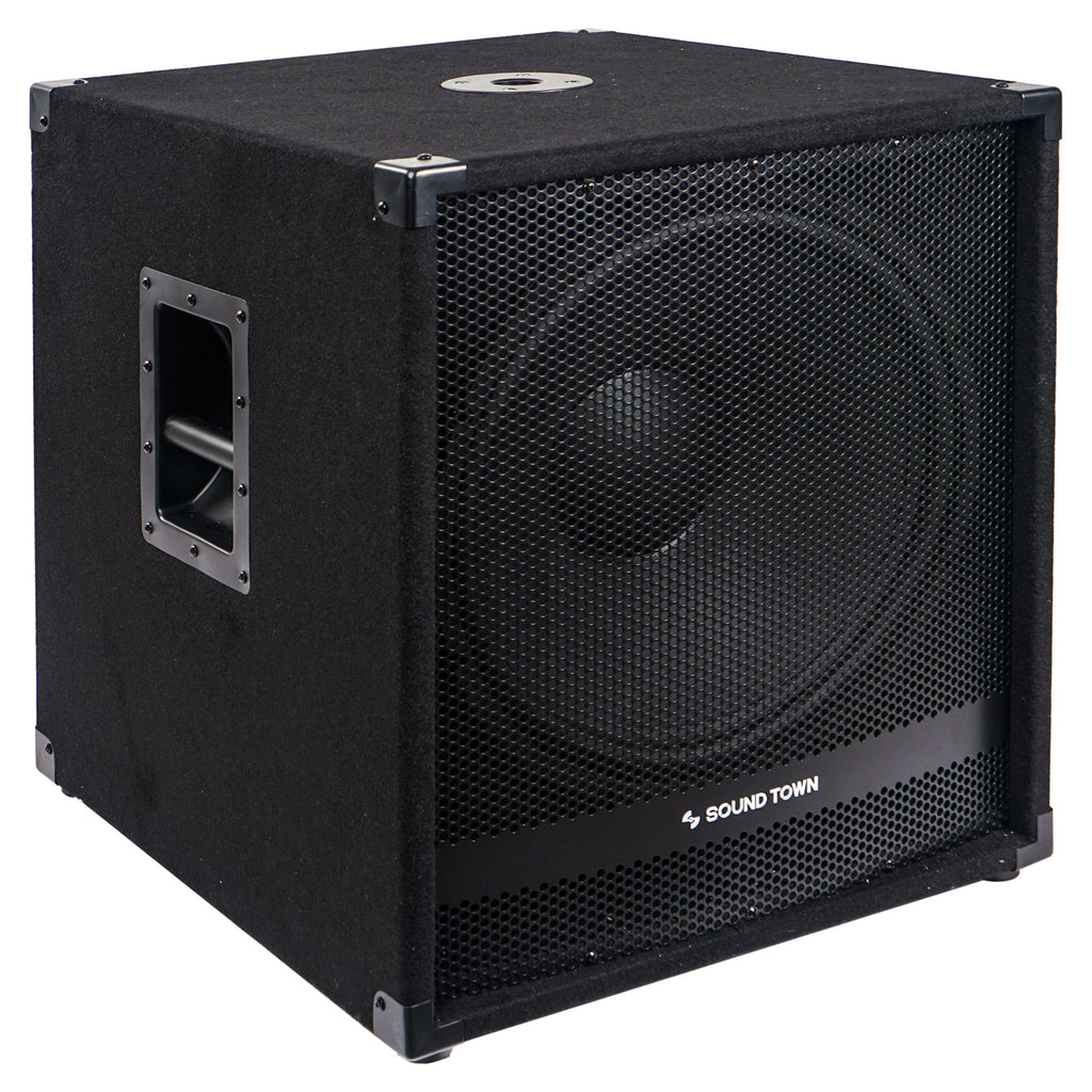 "Sound Town METIS-18SDPW-PAIR Pair of 18"" 4800 Watts Powered Subwoofers with Class-D Amplifier, 4-inch Voice Coil - Right Panel with Recessed Carry Handles and Mountable Top for Mounting Stands"