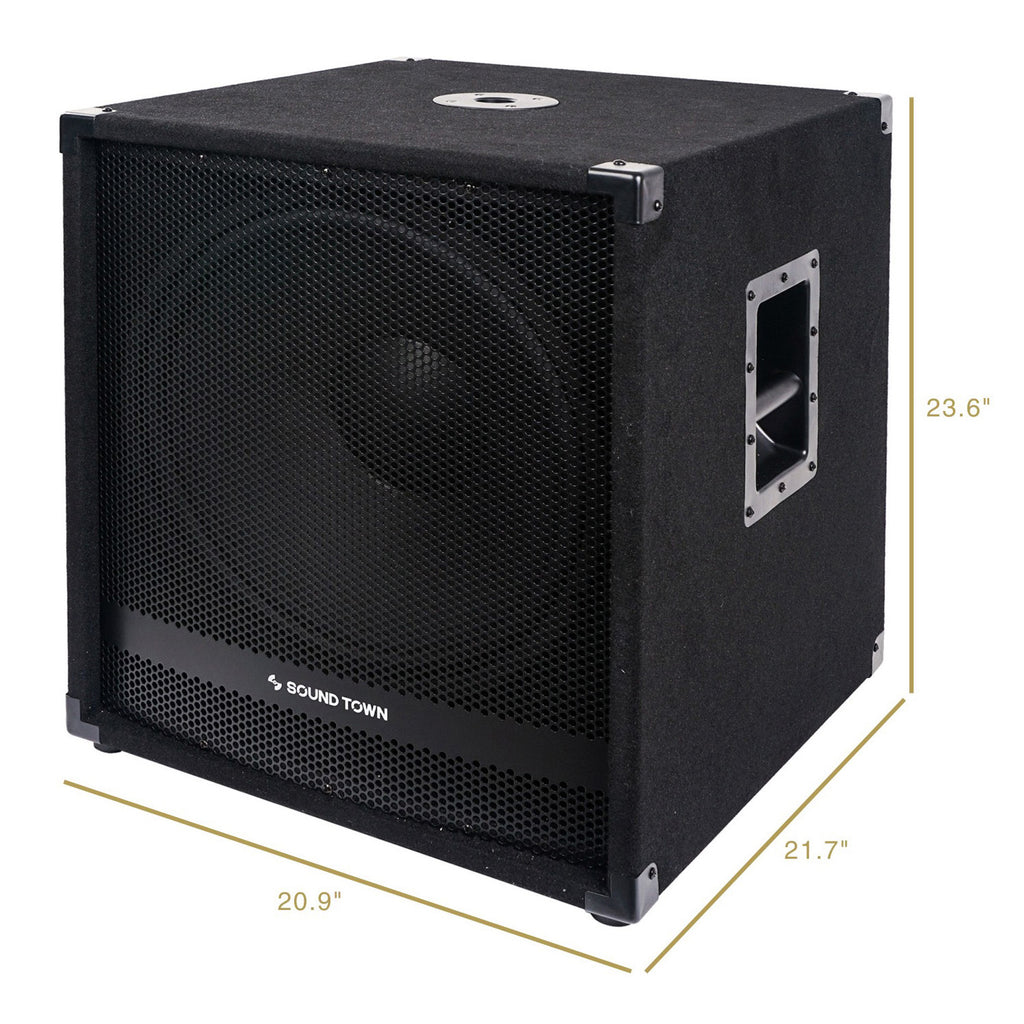 "Sound Town METIS-18SDPW-PAIR Pair of 18"" 4800 Watts Powered Subwoofers with Class-D Amplifier, 4-inch Voice Coil - Size and Dimensions"