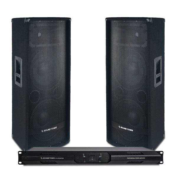 "Sound Town METIS-212UPDM Professional PA System with Two Dual 12"" Passive Speakers and One 2-Channel UPDM Power Amplifier for Live Sound, Karaoke, Bar, Church"
