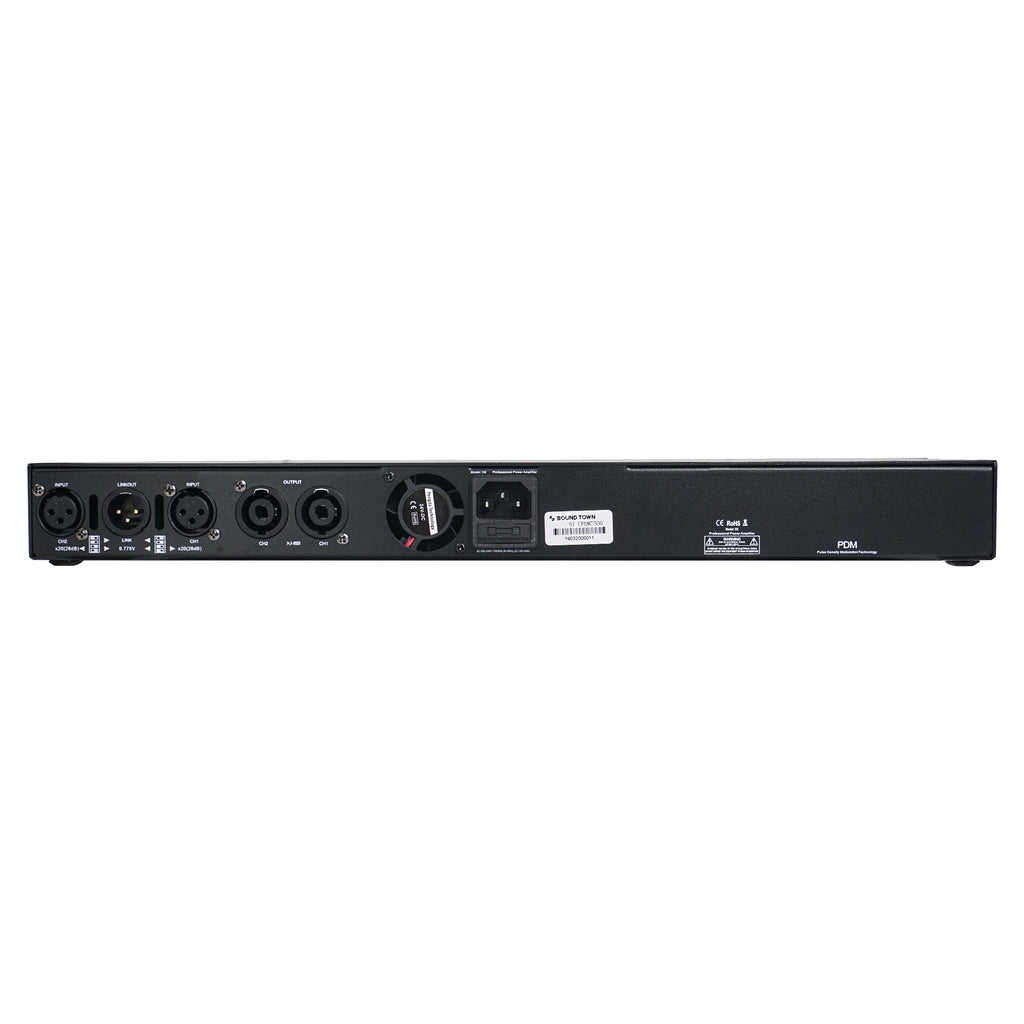 Sound Town METIS-215UPDM Class-D UPDM 7500W Peak Output, Ultra-Lightweight, DJ PA 2-Channel Power Amplifier, 2 x 1700W at 4-Ohm, 2 x 950W at 8-Ohm - Back Panel