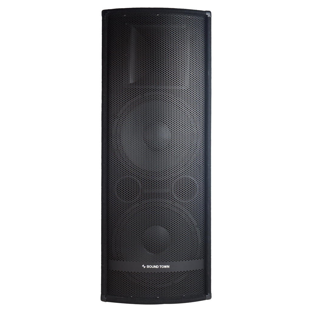 "Sound Town METIS-215UPDM METIS Series Dual 15"" 1400W 2-Way Full-range Passive DJ PA Pro Audio Speaker with Titanium Compression Driver for Live Sound, Karaoke, Bar, Church - Front Panel"