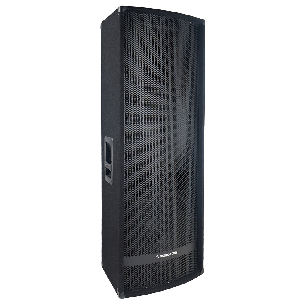 "Sound Town METIS-215UPDM METIS Series Dual 15"" 1400W 2-Way Full-range Passive DJ PA Pro Audio Speaker with Titanium Compression Driver for Live Sound, Karaoke, Bar, Church - Right Panel"