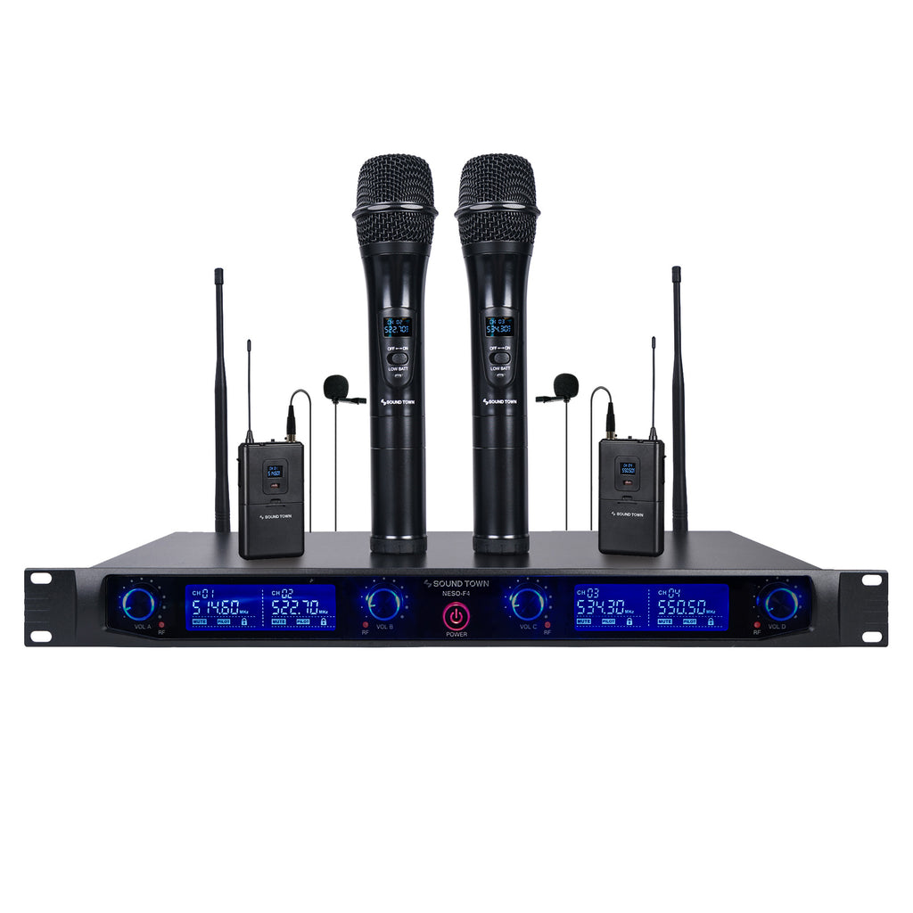 Sound Town NESO-F4HL NESO Series 4 Channels Professional UHF Wireless Microphone System with Rack Mountable Metal Receiver, 2 Handheld Mics, 2 Lavalier Mics and 2 Bodypack Transmitters, for Church, School and Karaoke