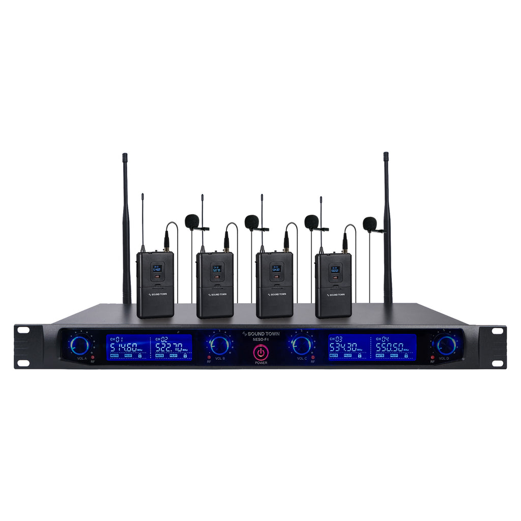 Sound Town NESO-F4LL NESO Series Metal 200 Channels Metal UHF Wireless Microphone System with Rack Mountable Receiver, 4 Lavalier Mics, 4 Bodypack Transmitters and Auto Scan, for Church, School, Meeting and Karaoke