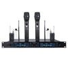 Sound Town NESO-SU4HL NESO Series Metal 200 Channels Metal UHF Wireless Microphone System with Rack Mountable Receiver, 2 Handheld Mics, 2 Lavalier Mics and Auto Scan, for Church, School and Karaoke