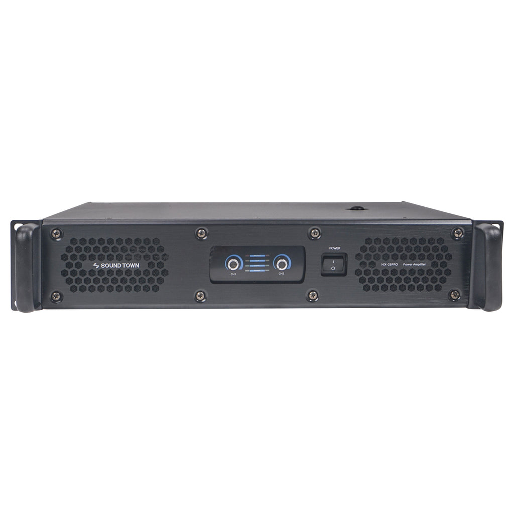 Sound Town NIX-26PRO 2-Channel, 2 x 1800W at 4-ohm Rack Mountable Power Amplifier - front panel
