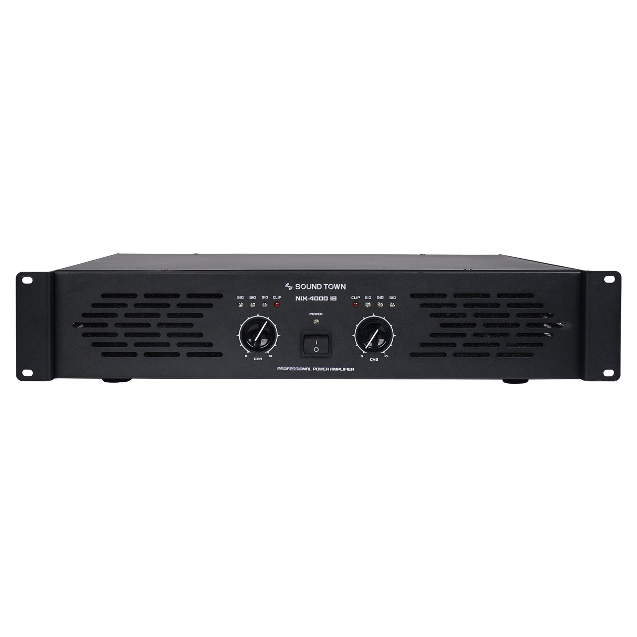Sound Town NIX-4000IB Professional Dual-Channel, 2 x 1000W at 4-ohm, 4000W Peak Output Power Amplifier - Front Panel
