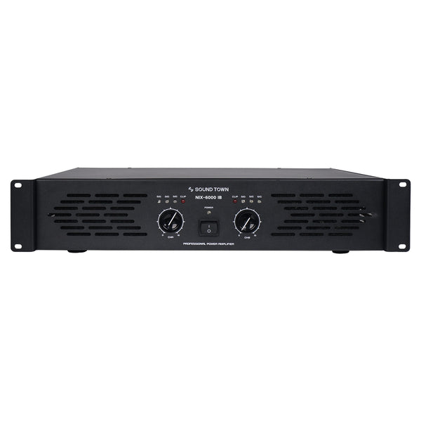 Sound Town NIX-6000IB NIX Series Professional Dual-Channel, 2x 1500W at 4-ohm, 6000W Peak Output Power Amplifier - Front Panel
