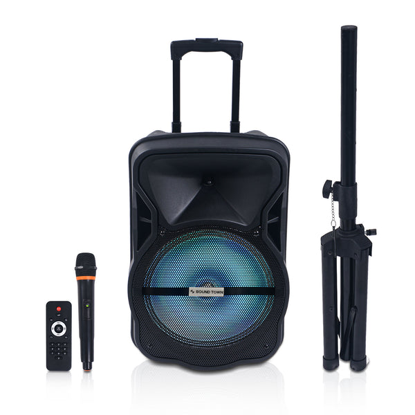 "12"" 2-Way Portable PA Speaker System w/ Rechargeable Battery, 1 Wireless Mic, 1 Speaker Stand, Bluetooth, USB, SD Card Reader, LED Light (OPIK-12V2PD)"