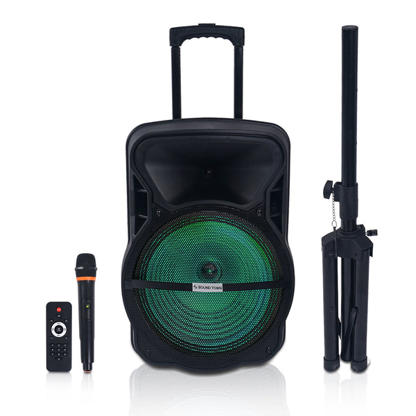 "15"" Portable PA Speaker w/ Built-in Rechargeable Battery, 1 Wireless Mic, 1 Speaker Stand, Bluetooth, USB, SD Card Reader, LED Light (OPIK-15V2PD)"