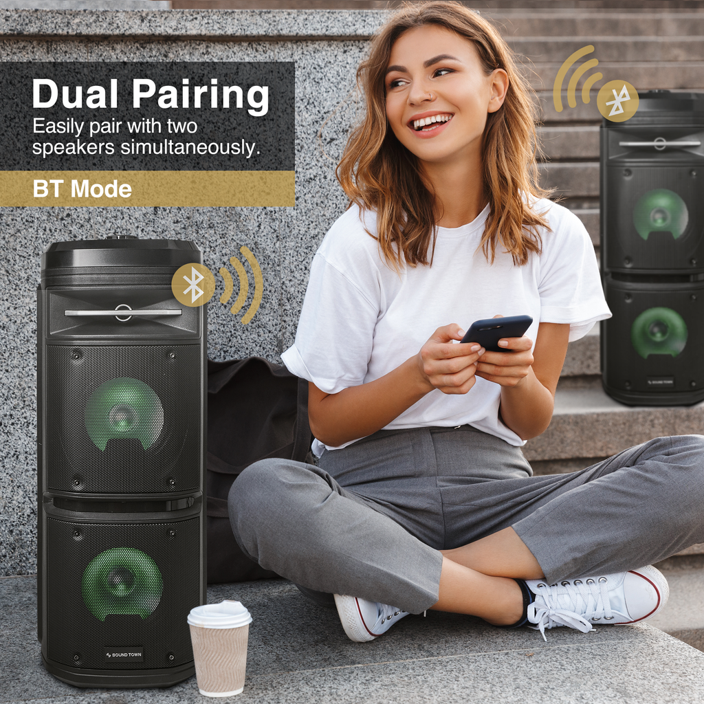 "Sound Town OPIK-26X Dual 6.5"" Powered Portable PA Speaker System with Built-in Rechargeable Battery, 1 Wired Microphone, TWS Bluetooth, USB, SD Card Reader, LED Light - Dual Pairing"