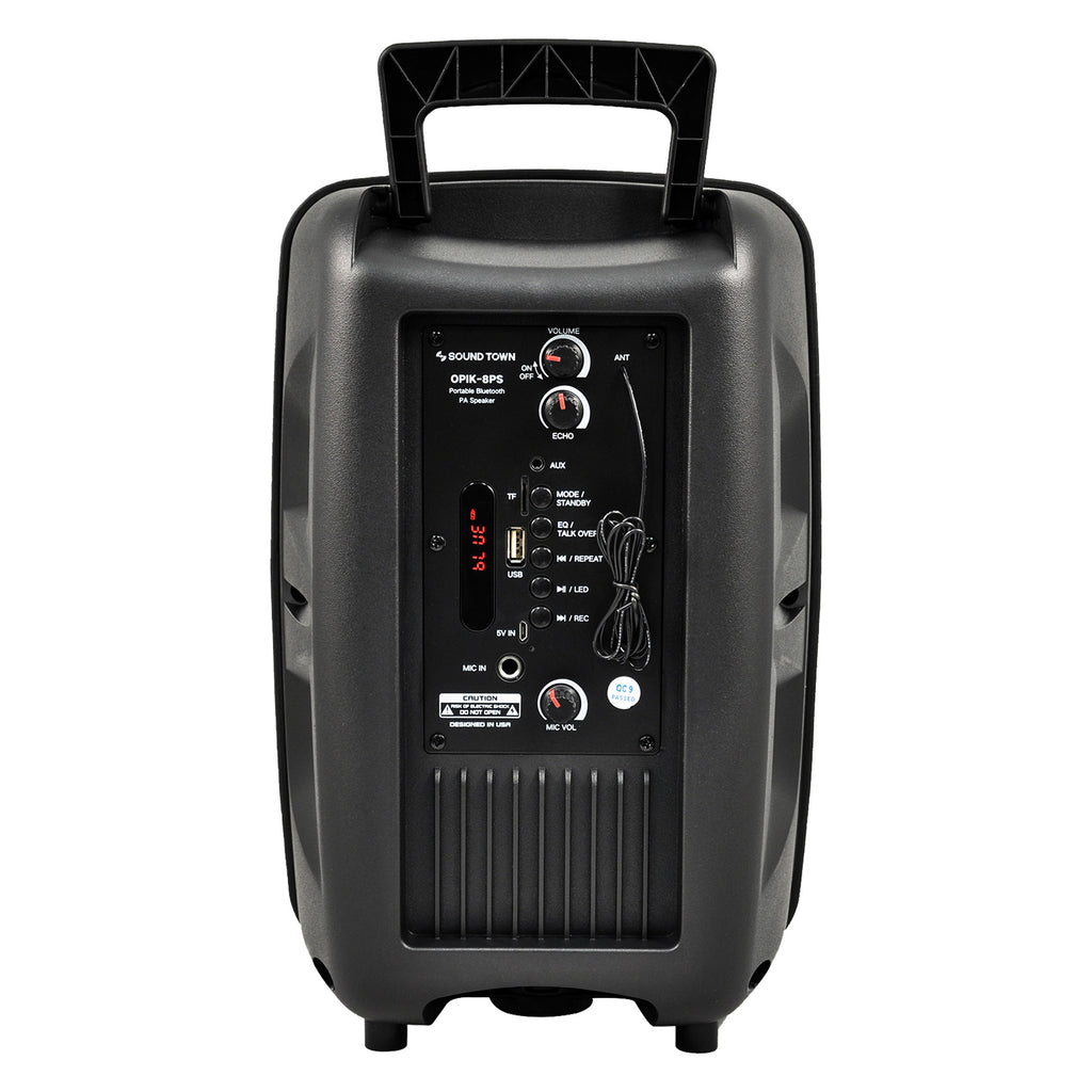 Sound Town OPIK-8PS 8-inch 2-Way Portable PA Speaker with Built-in Rechargeable Battery, 1 Wired Mic, Bluetooth, USB, SD Card Reader - Back Panel