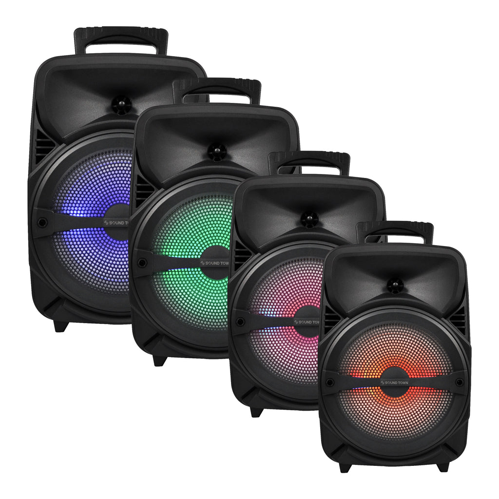 Sound Town OPIK-8PS 8-inch 2-Way Portable PA Speaker with Built-in Rechargeable Battery, 1 Wired Mic, Bluetooth, USB, SD Card Reader with Colorful LED Lights
