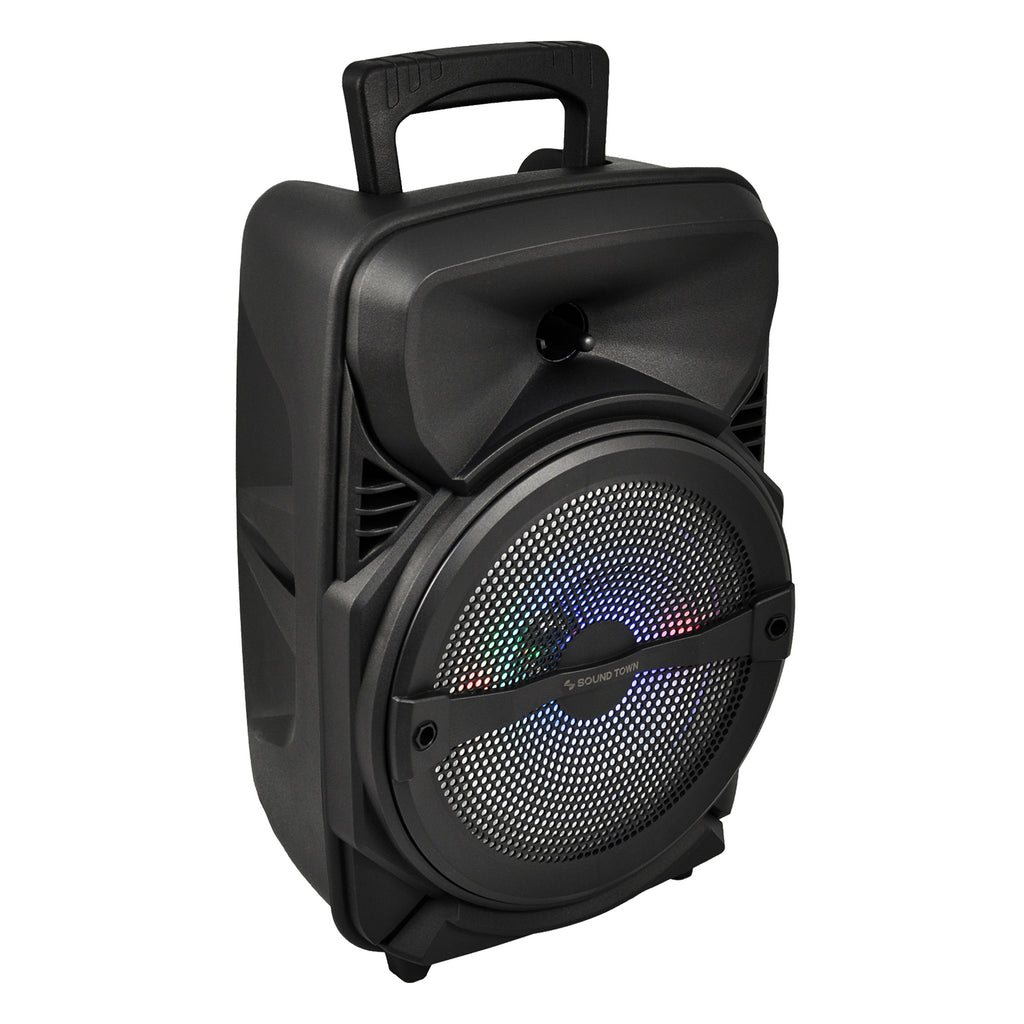 Sound Town OPIK-8PS 8-inch 2-Way Portable PA Speaker with Built-in Rechargeable Battery, 1 Wired Mic, Bluetooth, USB, SD Card Reader with Carry & Transport Handles