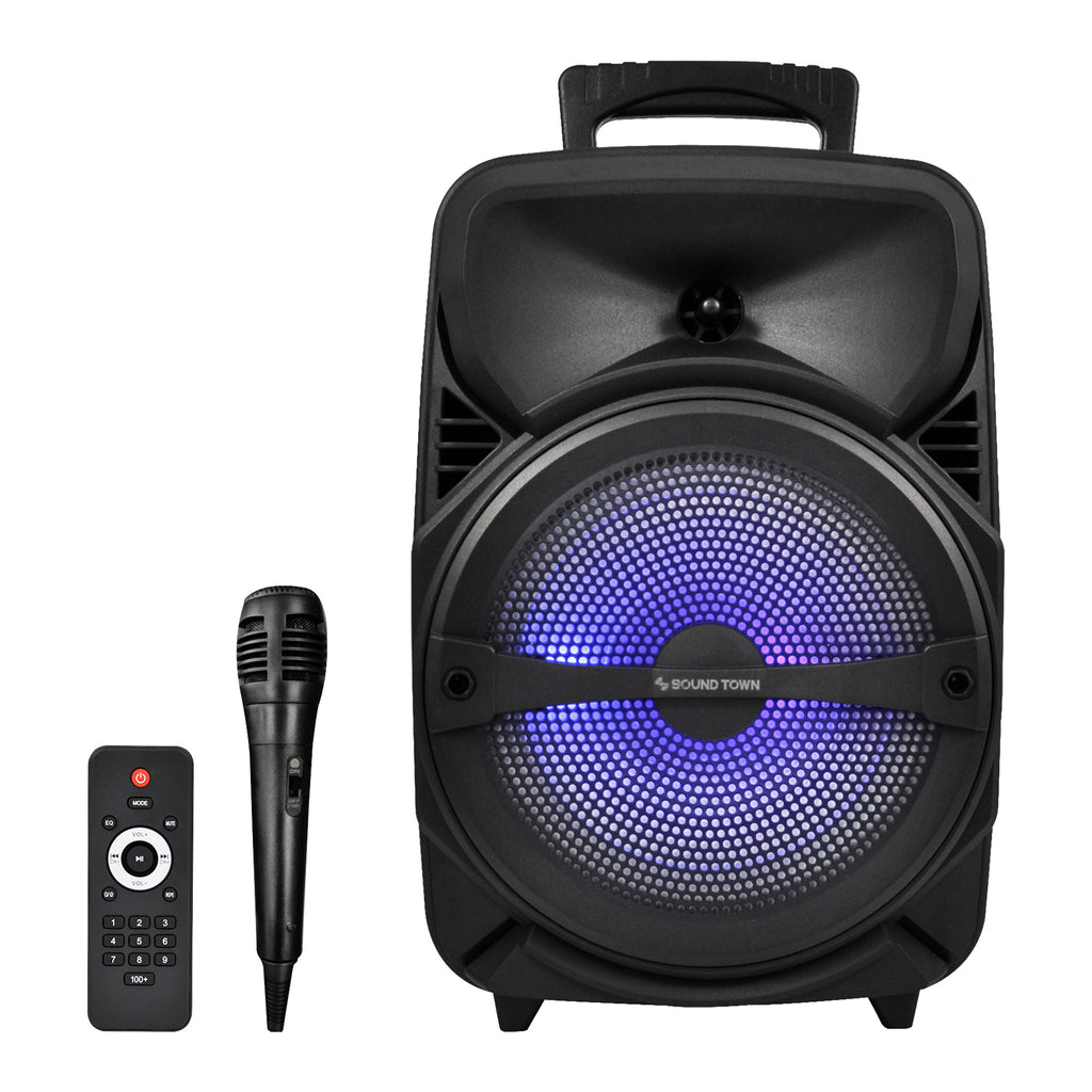 Sound Town OPIK-8PS 8-inch 2-Way Portable PA Speaker with Built-in Rechargeable Battery, 1 Wired Mic, Bluetooth, USB, SD Card Reader with Wireless Remote