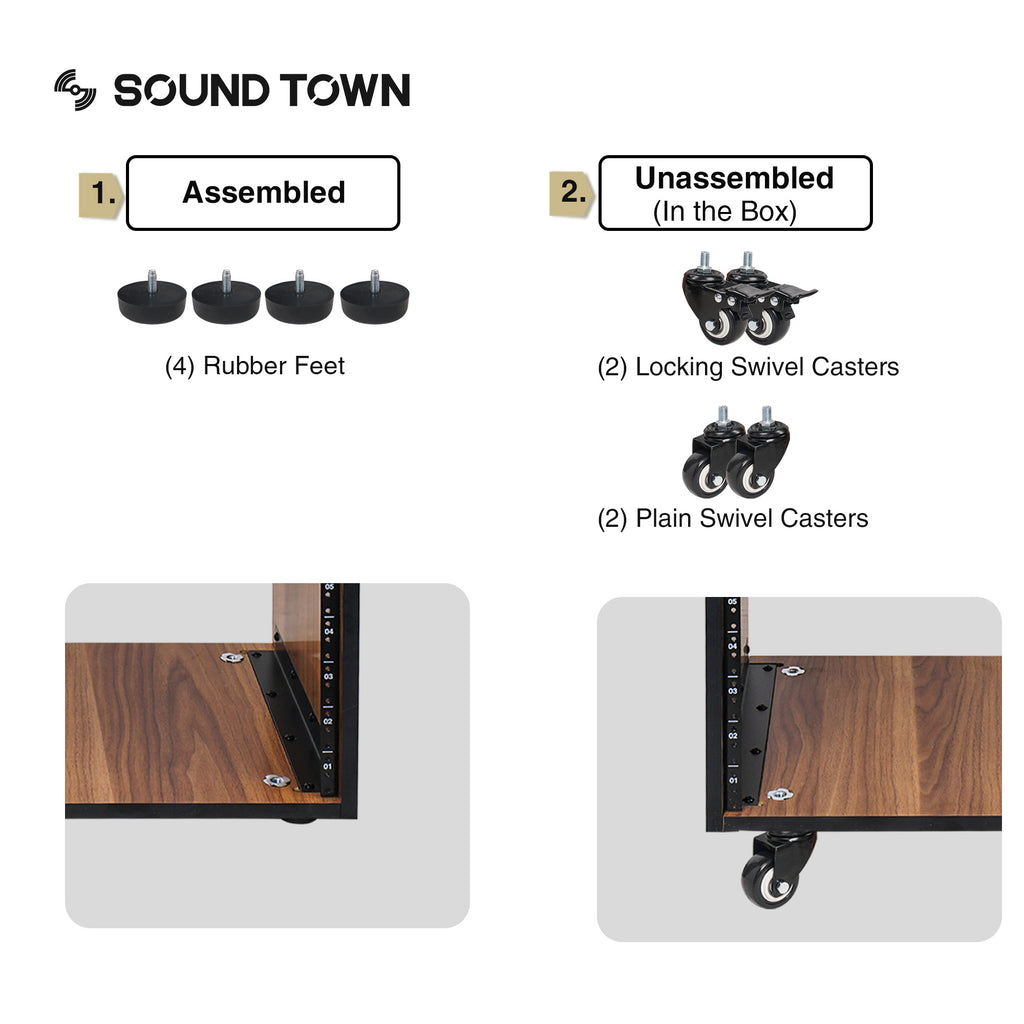 Sound Town SDRK-12WN 12U (12-Space) Studio Equipment Rack with Furniture Grade Walnut Laminate, Rubber Feet, Casters, for Recording Room, PA/DJ Pro Audio, DIY, with removable bumpers and optional casters