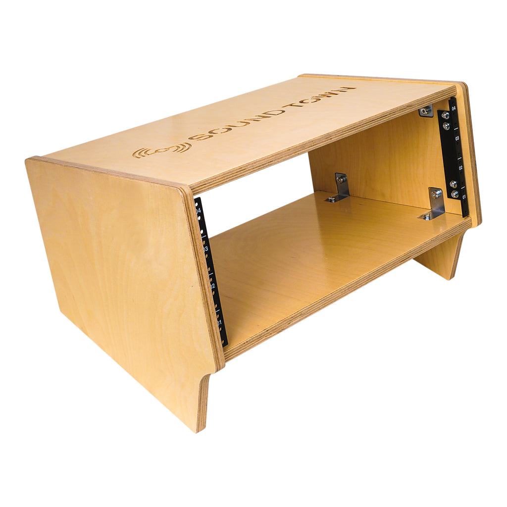 Sound Town SDRK-4SL 4U Angled Desktop Turret Studio & Recording Equipment Rack with Baltic Birch Plywood for Rackmountable Gear