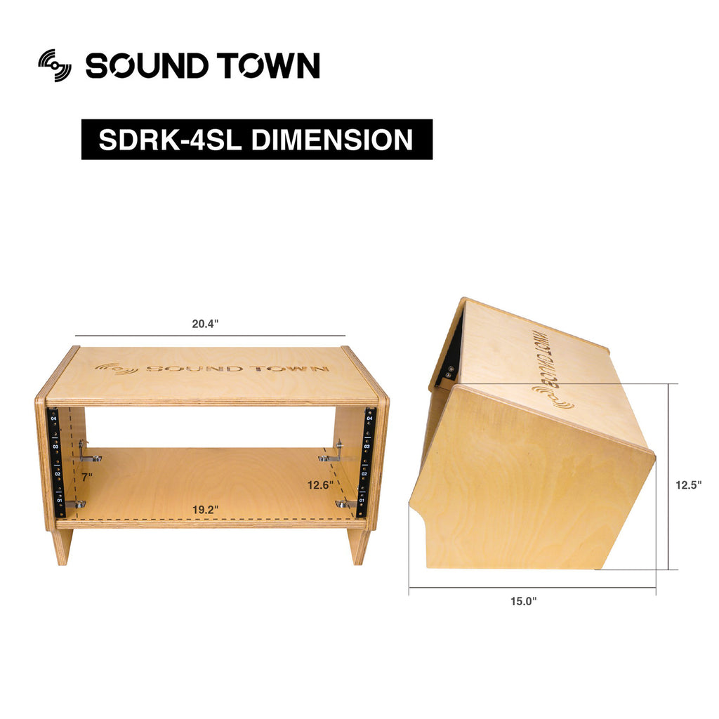 Sound Town SDRK-4SL 4U Angled Desktop Turret Studio & Recording Equipment Rack with Baltic Birch Plywood - Size & Dimensions