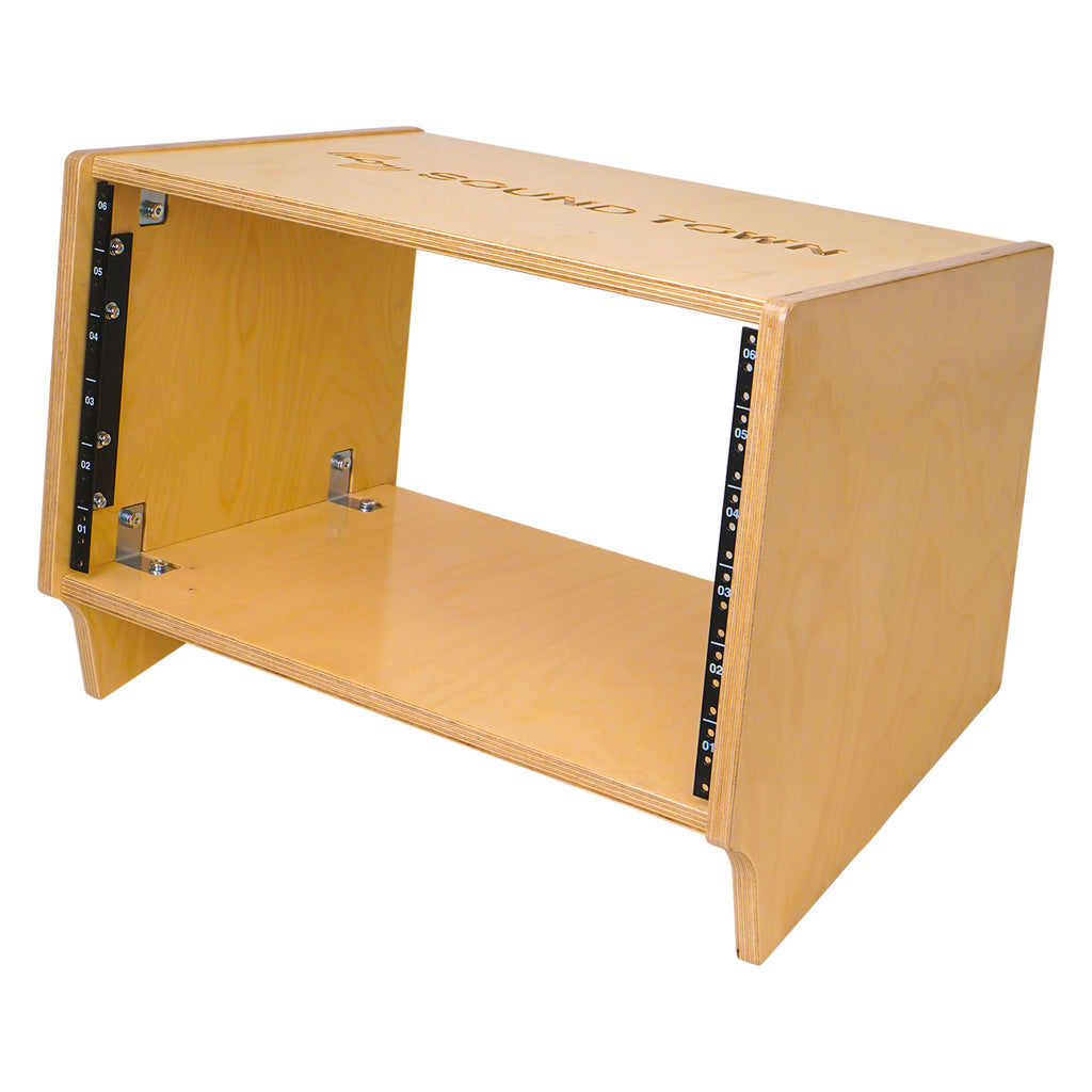 Sound Town SDRK-6SL 6U (6-Space) Angled Desktop Turret Studio & Recording Equipment Rack with Baltic Birch Plywood, Audio Room Furniture