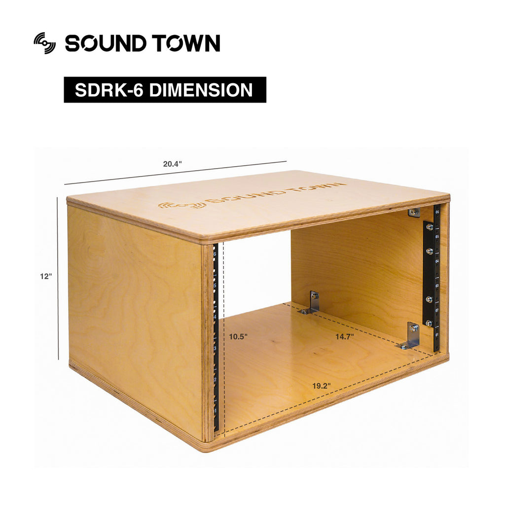 Sound Town SDRK-6 6U Studio & Recording Equipment Rack, Size and Dimensions