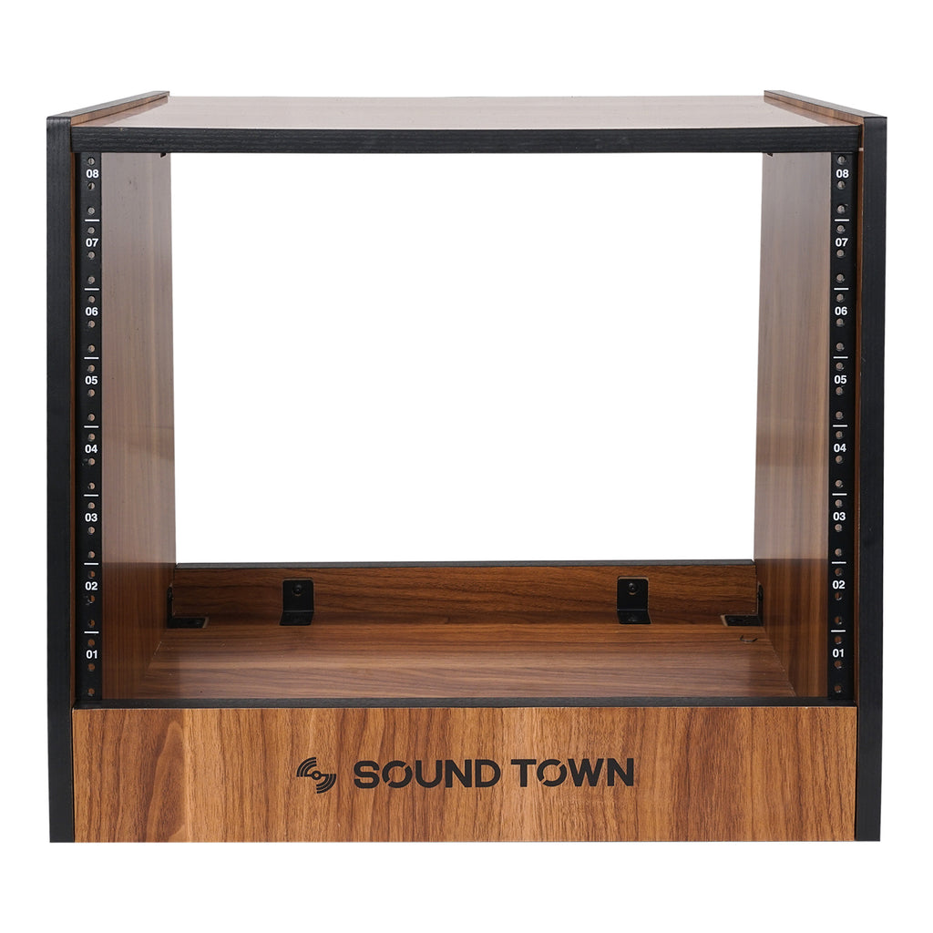 Sound Town SDRK-8WN 8U (8-Space) DIY Recording Studio Equipment Rack with Furniture Grade Walnut Laminate for Audio Gear & Home Recording Studio