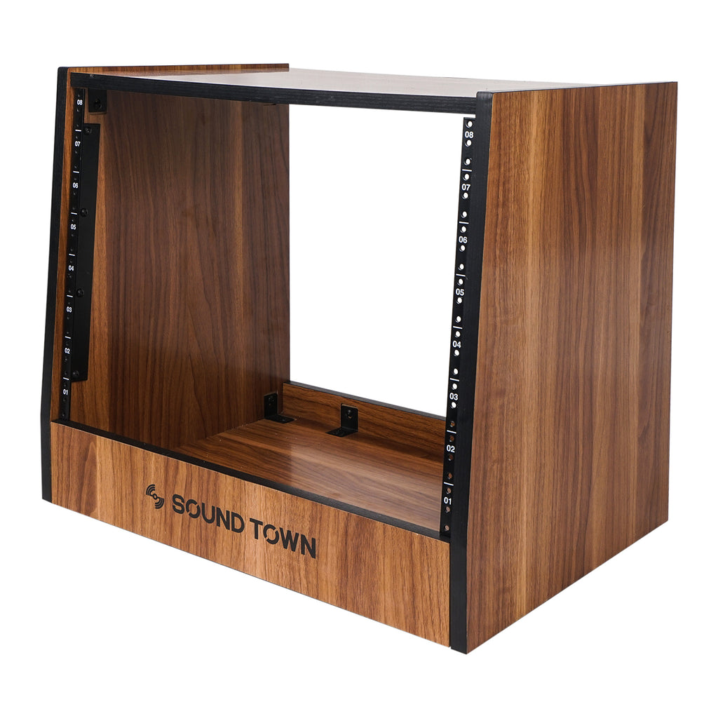 Sound Town SDRK-8WN 8U (8-Space) DIY Recording Studio Equipment Rack with Furniture Grade Walnut Laminate for Rackmountable Audio Equipment