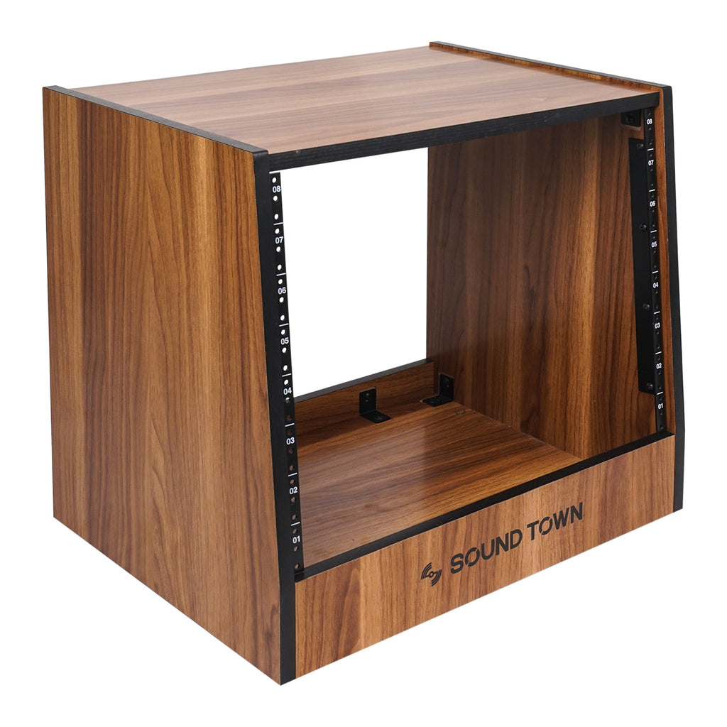 Sound Town SDRK-8WN 8U (8-Space) DIY Recording Studio Equipment Rack with Furniture Grade Walnut Laminate for Pro Audio
