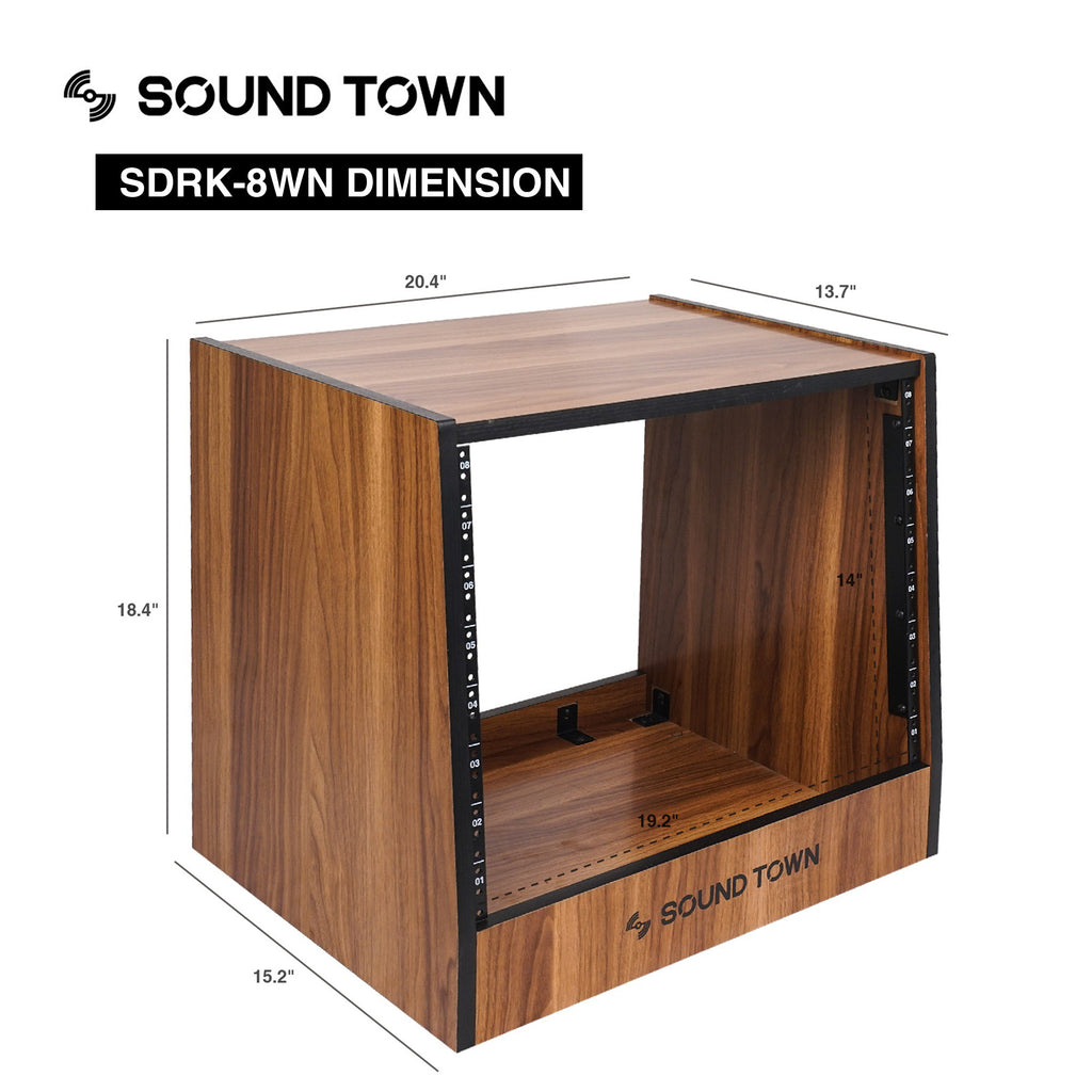 Sound Town SDRK-8WN 8U (8-Space) DIY Recording Studio Equipment Rack with Furniture Grade Walnut Laminate, Size and Dimensions