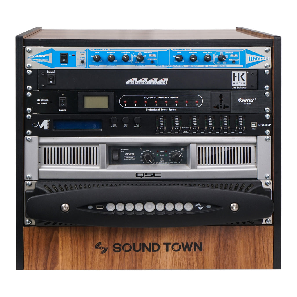 Sound Town SDRK-8WN 8U (8-Space) DIY Recording Studio Equipment Rack with Furniture Grade Walnut Laminate for Crossover, Line Switcher, Sequence Controller, Display, Power Amplifier