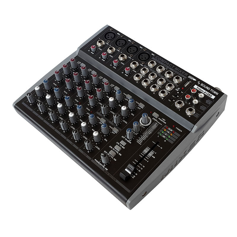 Sound Town TRITON-A12BD TRITON Series Professional 12-Channel Passive Audio Mixer with Bluetooth, USB Flash Drive Input and DSP