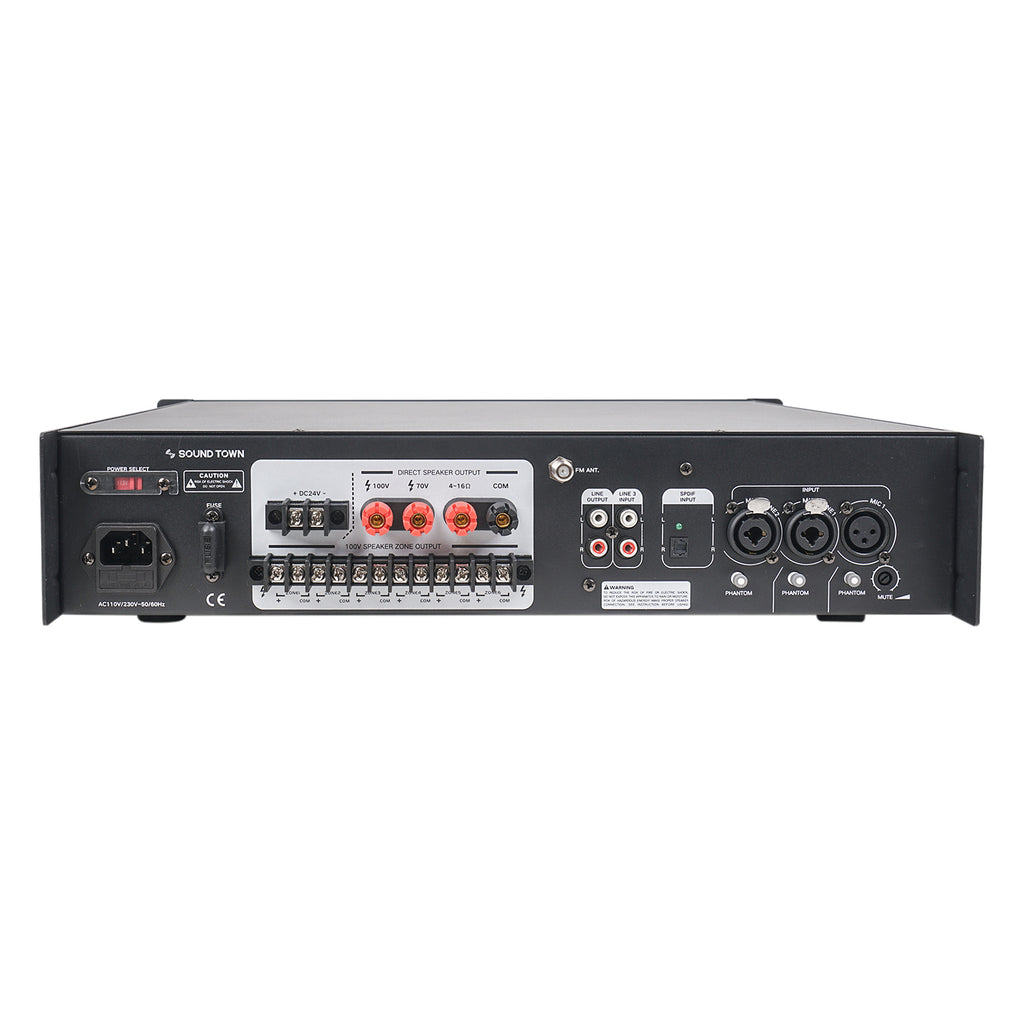 Sound Town STCA180-6Z 180 Watts 6-Zone 70V/100V Commercial Power Amplifier with Bluetooth, for Restaurants, Lounges, Bars, Pubs, Schools and Warehouses - Back Panel