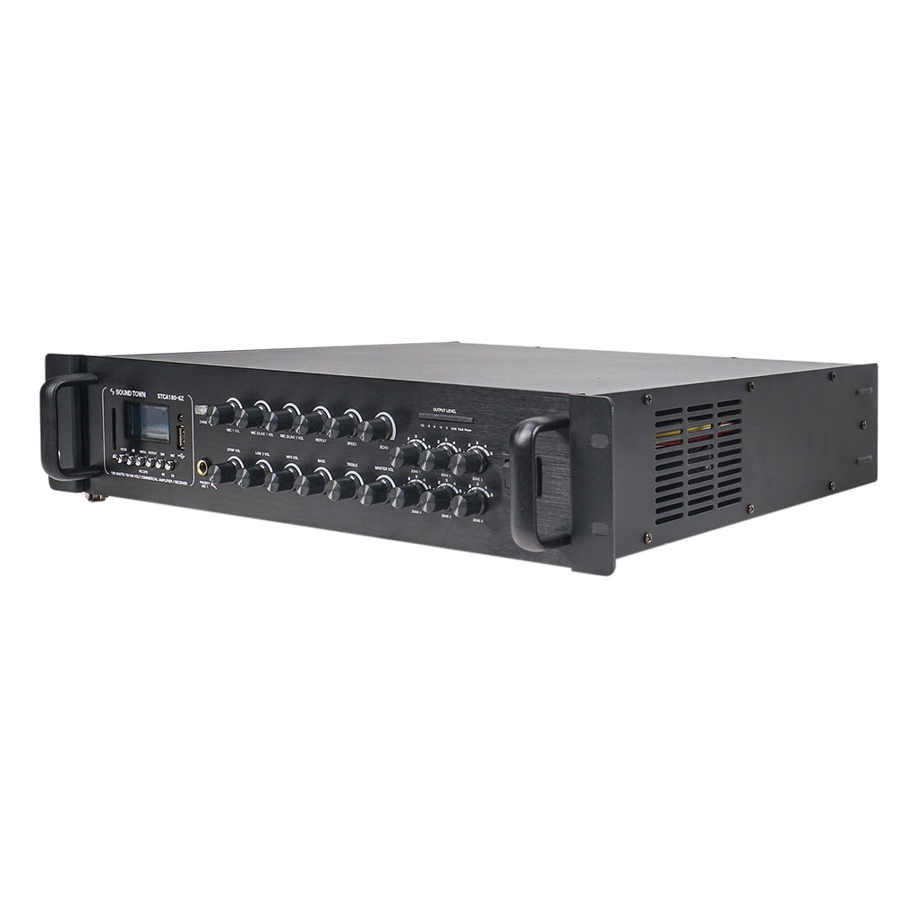 Sound Town STCA180-6Z 180 Watts 6-Zone 70V/100V Commercial Power Amplifier with Bluetooth, for Restaurants, Lounges, Bars, Pubs, Schools and Warehouses - Left Panel