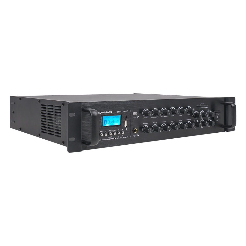 Sound Town STCA180-6Z 180 Watts 6-Zone 70V/100V Commercial Power Amplifier with Bluetooth, for Restaurants, Lounges, Bars, Pubs, Schools and Warehouses - Right Panel