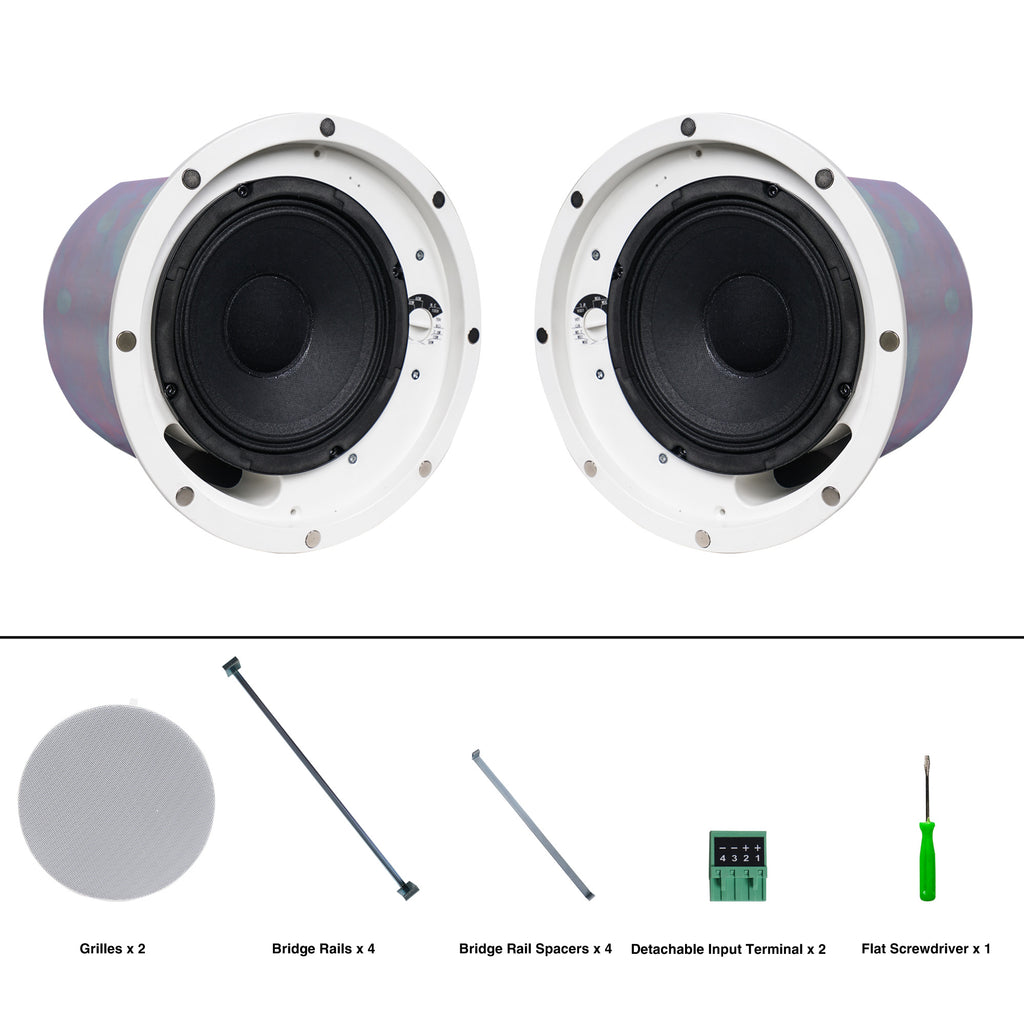 "Sound Town STCS-6 Pair of 6"" 2-way Passive Coaxial In-Ceiling / In-Wall Speakers with Low-Profile Design, 6"" Woofer, 1"" Compression Driver, Backcan and Tile Rails, 120-Degree Coverage, 70/100-volt Operation, White - Package Contents"