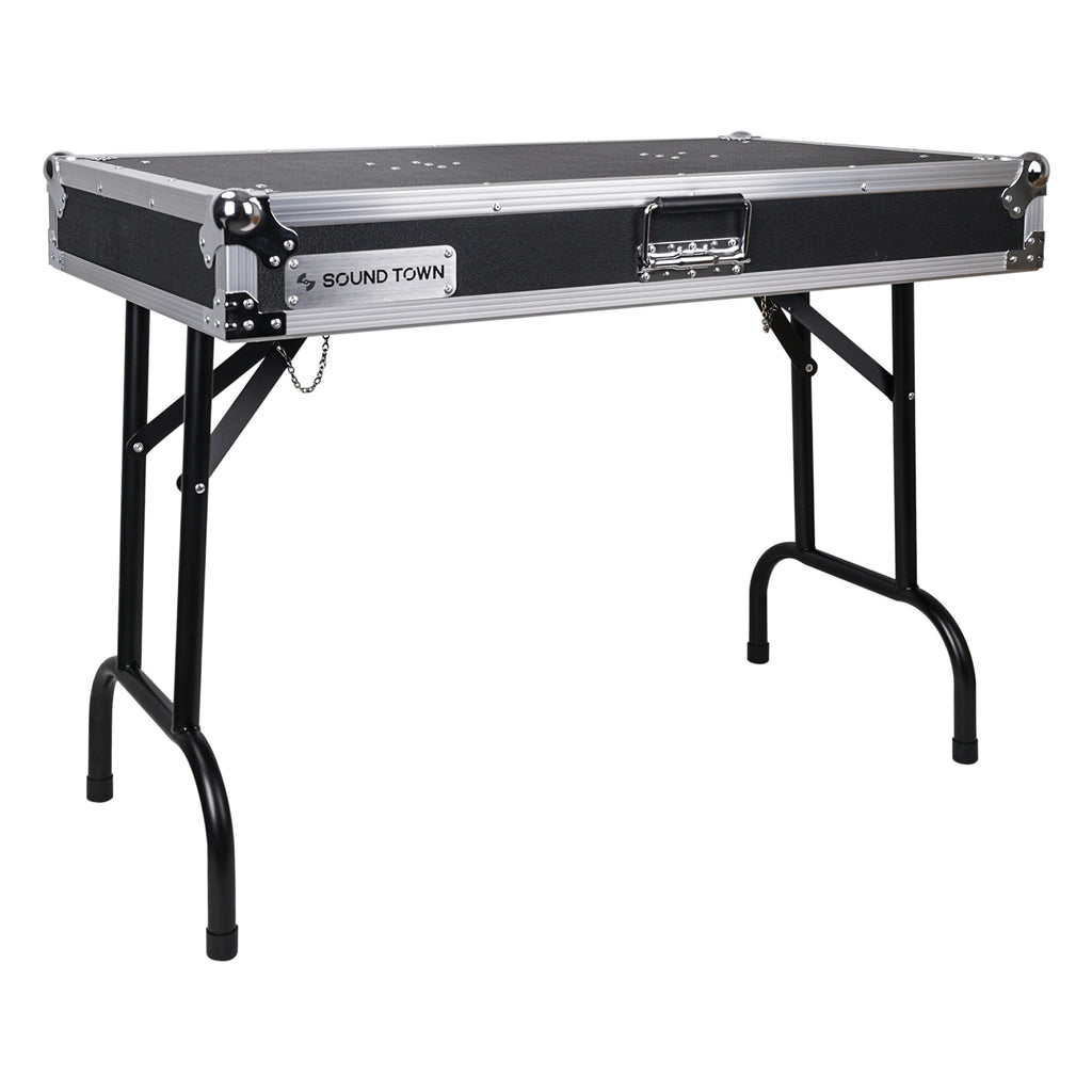 Sound Town STDJT-36W Folding DJ Workstation Table, Plywood, 36-inch x 21-inch, transportable, easy to transport, portable