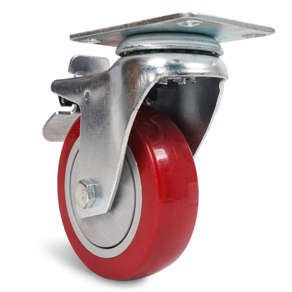 "Sound Town STLC-4 4-Pack 4"" Swivel Caster Wheels with Red Polyurethane and Brake Casters, Replacement Caster Wheels for Rack Case, Home Furniture, Industrial Trailer - Front"