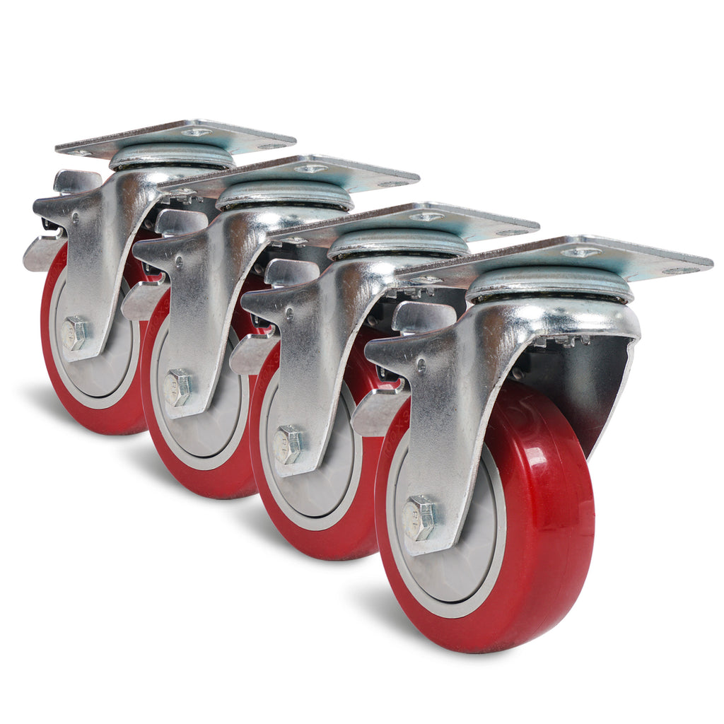 "Sound Town STLC-4 4-Pack 4"" Swivel Caster Wheels with Red Polyurethane and Brake Casters, Replacement Caster Wheels for Rack Case, Home Furniture, Industrial Trailer"