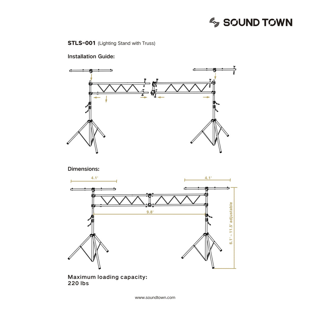 Sound Town STLS-001 Lighting Stand with Truss, Portable Lighting Truss System with T-Bars - Installation Instructions and Dimensions