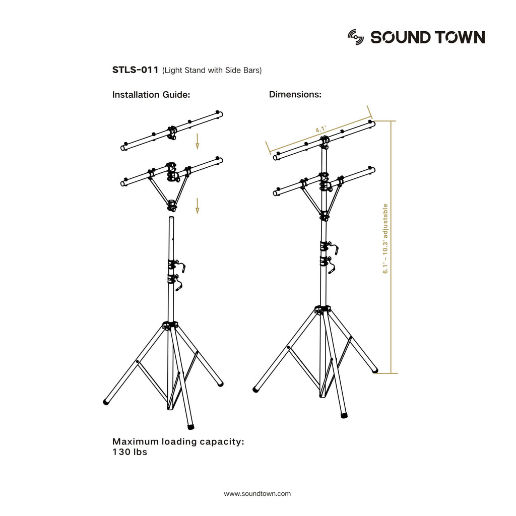 Sound Town STLS-011 Lighting Stand with Side Bars and Tripod Base - Installation Guide, Size and Dimensions